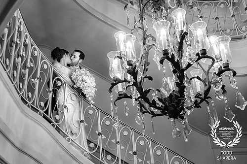 Shortly before their ceremony, Nicole and Dave embrace in the elegant lobby of Tarrytown House Estate.