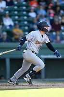 First baseman Dalton Blaser (9) of the Charleston RiverDogs bats in a game against the Greenville Drive on Sunday, April 29, 2018, at Fluor Field at the West End in Greenville, South Carolina. Greenville won, 2-0. (Tom Priddy/Four Seam Images)