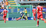 The Hague, Netherlands, June 07: Kieran Govers #27 of Australia celebrates after Matt Gohdes #16 of Australia scored during the field hockey group match (Men - Group A) between England and Australia on June 7, 2014 during the World Cup 2014 at Kyocera Stadium in The Hague, Netherlands. Final score 0-5 (0-4) (Photo by Dirk Markgraf / www.265-images.com) *** Local caption ***