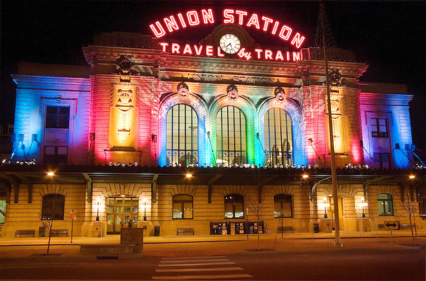 Union Station; Amtrack Railroad Station; Holiday Lights; 16th Street Mall; Denver; Colorado; John Kieffer; www.OutsideImagery.com .  John offers private photo tours in Denver, Boulder and throughout Colorado. Year-round Colorado photo tours.