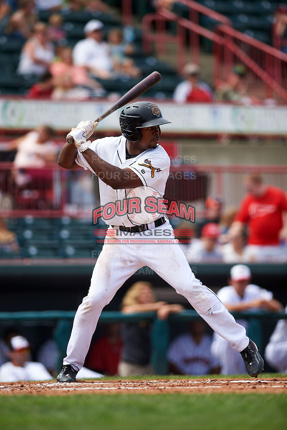 Erie Seawolves outfielder Wynton Bernard (36) at bat during a game against the Harrisburg Senators on August 30, 2015 at Jerry Uht Park in Erie, Pennsylvania.  Harrisburg defeated Erie 4-3.  (Mike Janes/Four Seam Images)