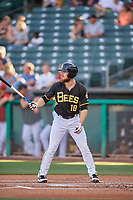 Jared Walsh (18) of the Salt Lake Bees bats against the Reno Aces at Smith's Ballpark on June 26, 2019 in Salt Lake City, Utah. The Aces defeated the Bees 6-4. (Stephen Smith/Four Seam Images)