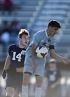NWA Democrat-Gazette/CHARLIE KAIJO Springdale High School midfielder Javier Solis (15) chest bumps the ball during a soccer game, Friday, March 15, 2019 at Bentonville West in Centerton.
