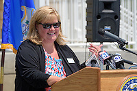 Christine Koster, President Friends of Hammonasset, at the Ribbon Cutting Ceremony for the New Meigs Point Nature Center at Hammonasset Beach State Park. A Connecticut State Project No: BI-T-601   Northeast Collaborative Architects  Contractor: Secondino & Son