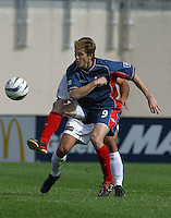 New England's Joe-Max Moore, San Jose vs. New England, Foxboro, Ma, May 3, 2003. San Jose won 2-0.