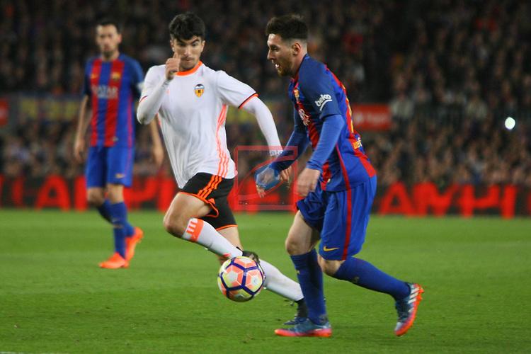 League Santander 2016/2017. Game: 28.<br /> FC Barcelona vs Valencia CF: 4-2.<br /> Carlos Soler vs Lionel Messi.