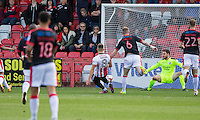 Billy Waters of Cheltenham scores his side's first goal during the Sky Bet League 2 match between Cheltenham Town and Crawley Town at the LCI Rail Stadium, Cheltenham, England on 15 October 2016. Photo by Mark  Hawkins.