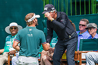 Joost Luiten (NED) speaking with Gary Player (RSA) on the 1st tee during the first round at the Nedbank Golf Challenge hosted by Gary Player,  Gary Player country Club, Sun City, Rustenburg, South Africa. 14/11/2019 <br /> Picture: Golffile | Tyrone Winfield<br /> <br /> <br /> All photo usage must carry mandatory copyright credit (© Golffile | Tyrone Winfield)