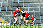 Sean O'Shea Kenmare gets to grips with Gavin White Dr Crokes during the County League final in Fitzgerald Stadium on Sunday