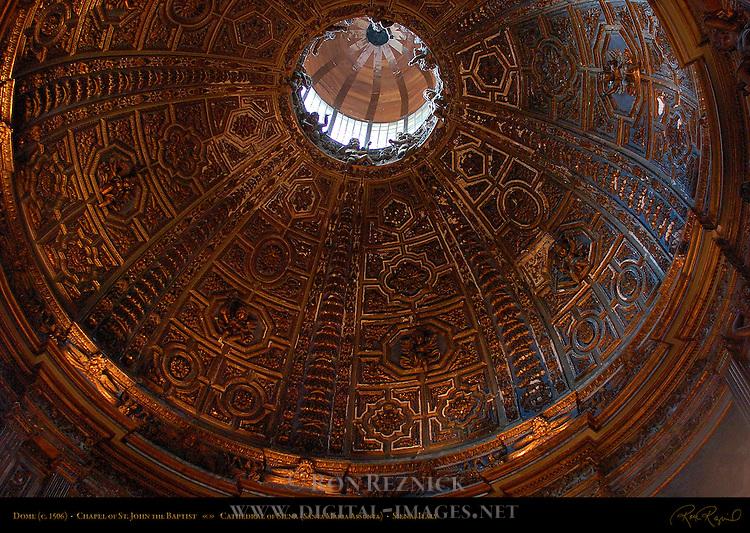 Dome, Chapel of St. John the Baptist, Stucco Relief Giovanni di Stefano 1506, North Transept, Cathedral of Siena, Santa Maria Assunta, Siena, Italy
