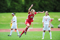 Sophomore Laurie Nosbusch scores in the second period, as the Wisconsin Badgers women's soccer team takes on Indiana on Sunday at the McClimon Soccer Complex in Madison