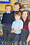 Junior infants teacher in Portmagee National School, Miss Coffey with Mary Ellen Bolger, Stephen Reardon and Michael Murphy in the school on Wednesday.   Copyright Kerry's Eye 2008