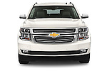 Car photography straight front view of a 2015 Chevrolet Suburban 4WD 1500 LTZ 5 Door Suv Front View