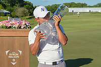 Sung Kang (USA) kisses the trophy for winning the AT&T Byron Nelson, Trinity Forest Golf Club, Dallas, Texas, USA. 5/12/2019.<br /> Picture: Golffile   Ken Murray<br /> <br /> <br /> All photo usage must carry mandatory copyright credit (© Golffile   Ken Murray)