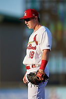 Palm Beach Cardinals first baseman Zach Kirtley (18) during a Florida State League game against the Daytona Tortugas on April 11, 2019 at Roger Dean Stadium in Jupiter, Florida.  Palm Beach defeated Daytona 6-0.  (Mike Janes/Four Seam Images)