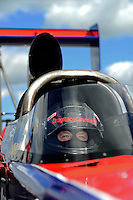 Sept 8, 2012; Clermont, IN, USA: NHRA top fuel dragster driver Ike Maier during qualifying for the US Nationals at Lucas Oil Raceway. Mandatory Credit: Mark J. Rebilas-