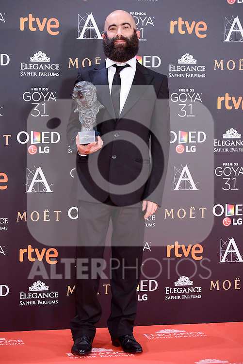 Carlos Diez Diez pose to the media with the Goya award at Madrid Marriott Auditorium Hotel in Madrid, Spain. February 04, 2017. (ALTERPHOTOS/BorjaB.Hojas)