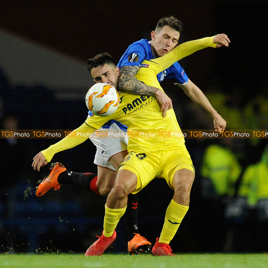 Manu Morlanes of Villarreal CF battles for the ball with Ryan Jack of Rangers during Rangers vs Villarreal CF, UEFA Europa League Football at Ibrox Stadium on 29th November 2018