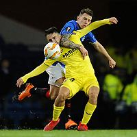 Manu Morlanes of Villarreal CF battles for the ball with Ryan Jack of Rangers during Rangers vs Villarreal CF, UEFA Europa League Football at Ibrox Stadium on 29th November 2018