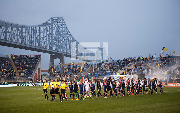 The teams take the field before a Major League Soccer match at PPL Park in Chester, PA.  Philadelphia defeated Chicago, 1-0.