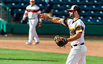 HARTFORD, CT-062520JS14—Terryville's Kyle Tehan (2) throws to first for the out during their game against the Great Falls Gators in the Connecticut Twilight League game Thursday at Dunkin Donuts Park in Hartford. <br /> Jim Shannon Republican-American