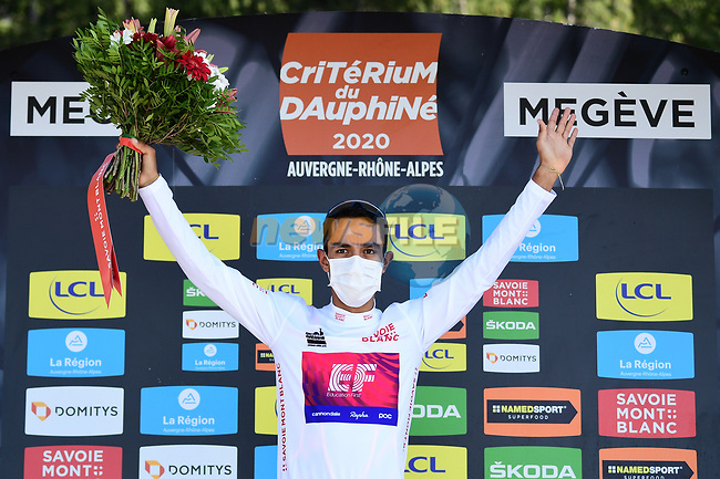 Daniel Martinez (COL) EF Pro Cycling retains the young riders White Jersey at the end of Stage 4 of Criterium du Dauphine 2020, running 157km from Ugine to Megeve, France. 15th August 2020.<br /> Picture: ASO/Alex Broadway | Cyclefile<br /> All photos usage must carry mandatory copyright credit (© Cyclefile | ASO/Alex Broadway)