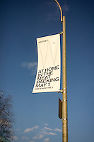 A banner for the Whitney Museum of American Art on West Street and at the terminus of the High Line Park in the trendy Meatpacking District in New York on Friday, April 17, 2015. The trendy neighborhood is about to get even more trendy when the museum opens on May 1. The Whitney is hosting a block party on May 2 to welcome the public. (© Richard B. Levine)