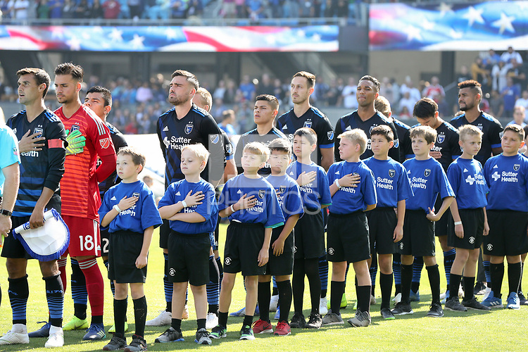 San Jose, CA - Sunday October 21, 2018: San Jose Earthquakes  prior to a Major League Soccer (MLS) match between the San Jose Earthquakes and the Colorado Rapids at Avaya Stadium.