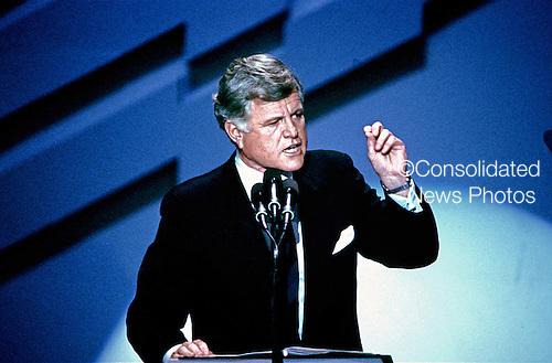 "Atlanta, GA - (FILE) -- United States Senator Edward M. ""Ted"" Kennedy (Democrat of Massachusetts) makes remarks at the 1988 Democratic National Convention in Atlanta, Georgia on July 19, 1988..Credit: Arnie Sachs / CNP"