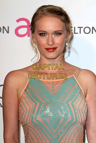Leven Rambin.21st Annual Elton John Academy Awards Viewing Party held at West Hollywood Park, West Hollywood, California, USA..February 24th, 2013.oscars half length blue pink dress headshot portrait red lipstick pattern .CAP/ADM/KB.©Kevan Brooks/AdMedia/Capital Pictures.