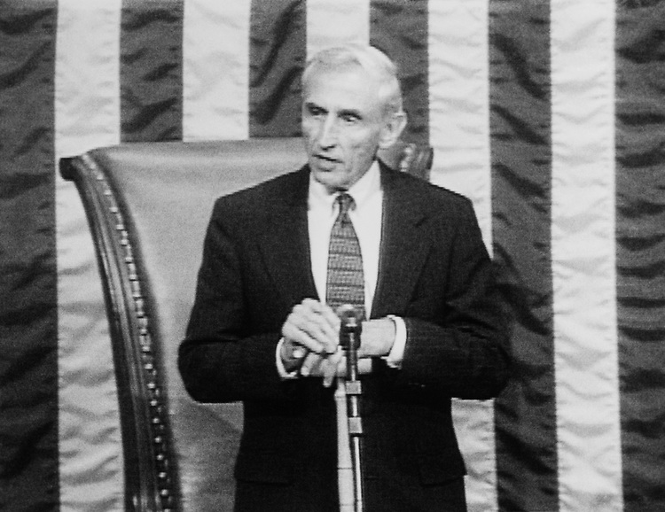 "Rep. Romano Mazzoli, D-Ky., on the House floor as a ""Constitution Guide"" in 1993. (Photo by CQ Roll Call)"