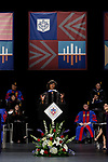 Labor and employment attorney Paulette Brown, honorary degree recipient and commencement speaker, addresses the graduating class at the DePaul University College of Law commencement ceremony, Sunday, May 14, 2017, at the Rosemont Theatre in Rosemont, IL, where some 240 students received their Juris Doctors or Master of Laws degrees. (DePaul University/Jeff Carrion)