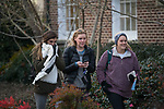 Brecken Reeves, Marti McDonald and Amelia Demetz try to stay warm on a chilly trek across campus.  Photo by Kevin Bain/University Communications Photography