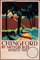 BNPS.co.uk (01202 558833)<br /> Pic: Onslows/BNPS<br /> <br /> Chingford - Trolley or tram travel was encouraged to the then leafy town's and villages around the capital.<br /> <br /> A fascinating treasure trove of old London posters are expected to sell at auction for £20,000 after being discovered in a garage.<br /> <br /> They were produced circa 1920 by the Underground Electric Railway Company to promote the capital's underground, tram and bus networks.<br /> <br /> There is also a charming selection of 'London Characters' posters showing different walks of life including a news boy, a zookeeper, a flower woman and a Covent Garden porter.<br /> <br /> The collection of 35 posters were found rolled up in a garage lock up in Kensington, west London, while it was being cleared out.<br /> <br /> The vendor, a lady in her 80s, inherited them many years ago from her late aunt who was an artist in the 1920s and had her own studio.
