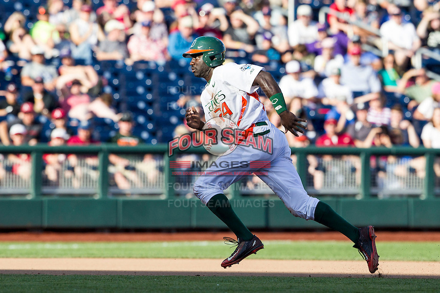Miami Hurricanes outfielder Jacob Heyward (24) runs towards third base during the NCAA College baseball World Series against the Arkansas Razorbacks  on June 15, 2015 at TD Ameritrade Park in Omaha, Nebraska. Miami beat Arkansas 4-3. (Andrew Woolley/Four Seam Images)