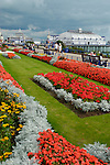 View of Carpet Gardens, seafront and pier, Eastbourne, East Sussex, England