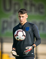 Goalkeeper James Trafford (Manchester City) of England U18 pre match during the Under 18 International friendly match between England U18 & Brazil U18 at Hednesford Town Football Club, Keys Park, Cannock on 8 September 2019. Photo by Andy Rowland.