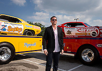 Aug. 29, 2013; Avon, IN, USA: NHRA Movie actor Richard Blake prior to the premiere of Snake & Mongoo$e at the Regal Shiloh Crossing Stadium 18. Mandatory Credit: Mark J. Rebilas-