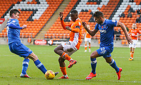 Blackpool's Viv Solomon-Otabor takes on Portsmouth's Oliver Hawkins and Gareth Evans<br /> <br /> Photographer Alex Dodd/CameraSport<br /> <br /> The EFL Sky Bet League One - Blackpool v Portsmouth - Saturday 11th November 2017 - Bloomfield Road - Blackpool<br /> <br /> World Copyright &copy; 2017 CameraSport. All rights reserved. 43 Linden Ave. Countesthorpe. Leicester. England. LE8 5PG - Tel: +44 (0) 116 277 4147 - admin@camerasport.com - www.camerasport.com