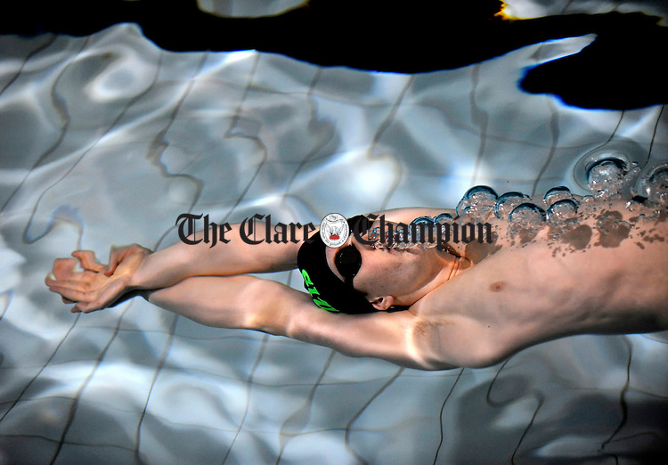 Shannon Swimmer Christopher Bryan, a member of the Ennis Swimming Club,  goes through his paces at Shannon Pool. Photograph by John Kelly.