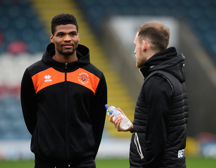 Blackpool's Michael Nottingham, left, and Blackpool's Harry Pritchard prior to the game<br /> <br /> Photographer Chris Vaughan/CameraSport<br /> <br /> The EFL Sky Bet League One - Rochdale v Blackpool - Wednesday 26th December 2018 - Spotland Stadium - Rochdale<br /> <br /> World Copyright © 2018 CameraSport. All rights reserved. 43 Linden Ave. Countesthorpe. Leicester. England. LE8 5PG - Tel: +44 (0) 116 277 4147 - admin@camerasport.com - www.camerasport.com