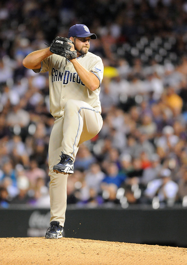 14 SEPTEMBER 2010:  San Diego Padres relief pitcher Heath Bell (21) during a regular season Major League Baseball game between the Colorado Rockies and the San Diego Padres at Coors Field in Denver, Colorado. The Padres beat the Rockies 7-6.   *****For Editorial Use Only*****