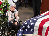 Roberta McCain, 106, mother of the late United States Senator John McCain (Republican of Arizona), makes the sign of the cross next to the casket bearing the remains of her son during the Lying in State ceremony honoring  in the US Capitol Rotunda in Washington, DC on Friday, August 31, 2018.<br /> Credit: Ron Sachs / CNP<br /> <br /> (RESTRICTION: NO New York or New Jersey Newspapers or newspapers within a 75 mile radius of New York City)