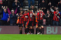 Lys Mousset of AFC Bournemouth second left is congratulated after scoring the second goal during AFC Bournemouth vs Stoke City, Premier League Football at the Vitality Stadium on 3rd February 2018