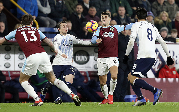 Burnley's Matthew Lowton vies for possession with Everton's Bernard<br /> <br /> Photographer Rich Linley/CameraSport<br /> <br /> The Premier League - Burnley v Everton - Wednesday 26th December 2018 - Turf Moor - Burnley<br /> <br /> World Copyright © 2018 CameraSport. All rights reserved. 43 Linden Ave. Countesthorpe. Leicester. England. LE8 5PG - Tel: +44 (0) 116 277 4147 - admin@camerasport.com - www.camerasport.com