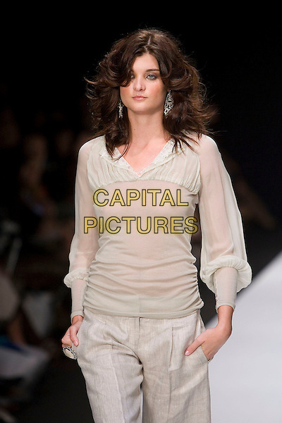 MODEL.Mercedes-Benz Spring 2007 L.A. Fashion Week - Single - Runway held at Smashbox Studios,  Culver City, California, USA, 16 October 2006..half length fashion catwalk sheer see through top breasts nipples.Ref: ADM/ZL.www.capitalpictures.com.sales@capitalpictures.com.©Zach Lipp/AdMedia/Capital Pictures.