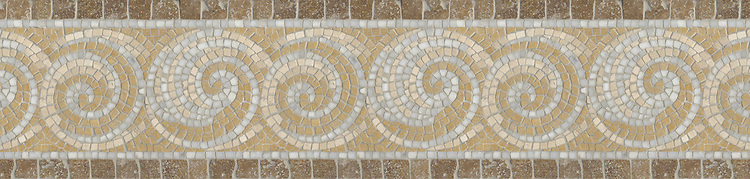 "9 5/8"" Spiral border, a hand-chopped stone mosaic, shown in tumbled Calacatta Tia, Jerusalem Gold, Travertine Noce, and Travertine White."