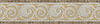 "9 5/8"" Spiral border, a hand-chopped stone mosaic, shown in tumbled Calacatta Tia, Jerusalem Gold, Travertine Noce, and Travertine White."