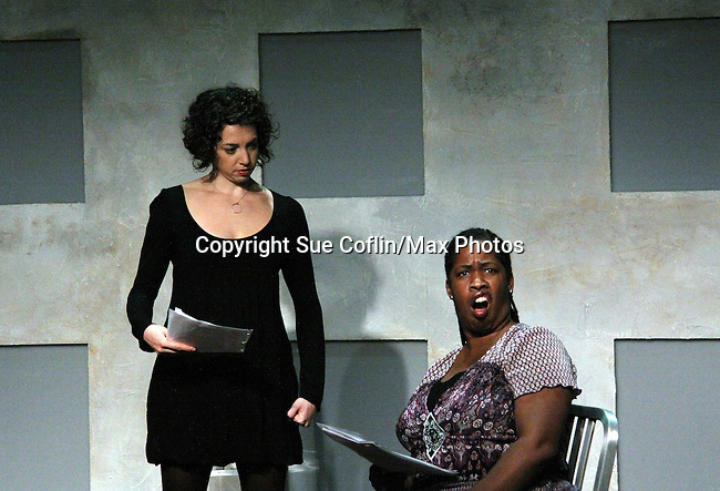 "Amanda Sayle & Cecily Benjamin in ""Verbatim Verboten - NYC"" on October 18, 2010 at the WorkShop Theater, NYC. (Photo by Sue Coflin/Max Photos)"