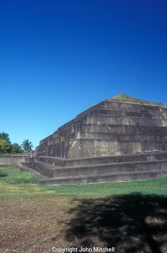 Main pyramid at the Mayan ruins of El Tazumal in El Salvador Central America